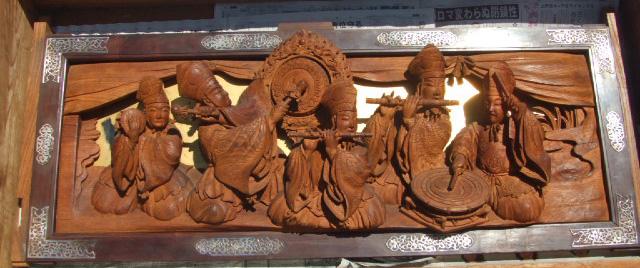 南組南車 壇箱下部 初代彫常作 蹴込み「五人囃子」
