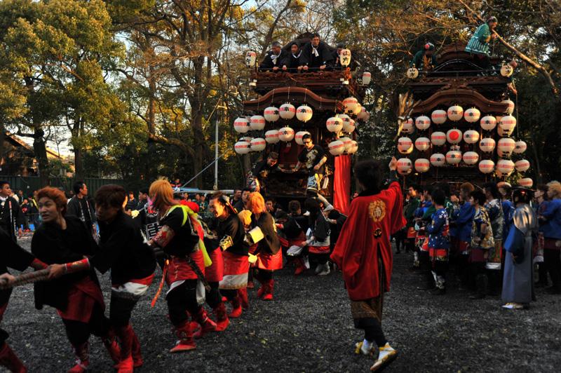 南組南車 神社への打ち込み 8
