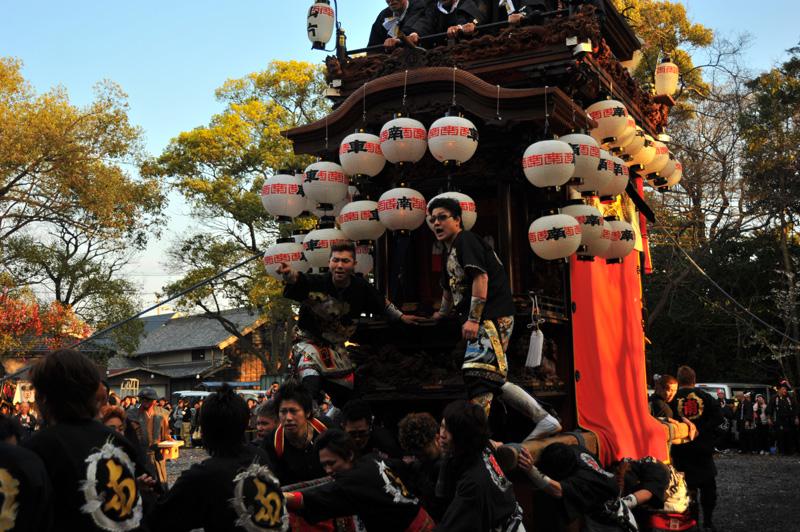 南組南車 神社への打ち込み 9