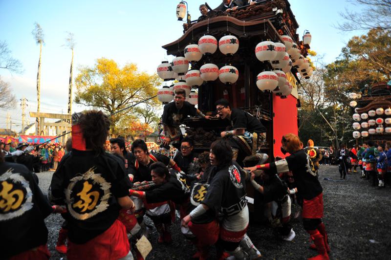 南組南車 神社への打ち込み 14