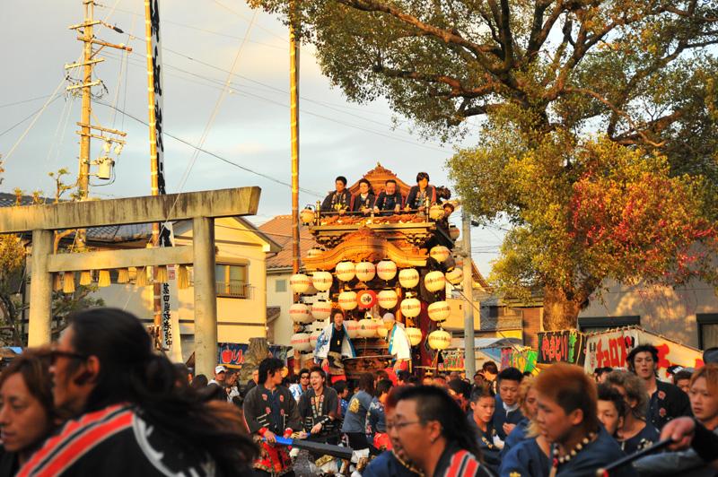 西組神車 神社への打ち込み 1