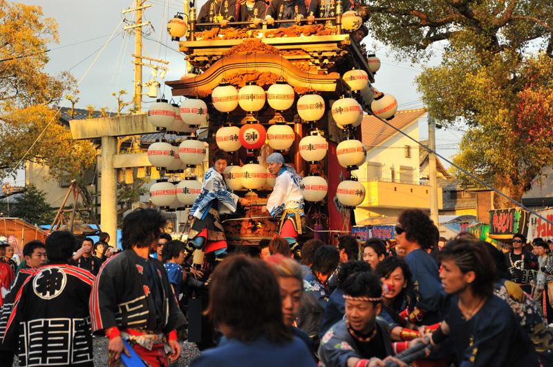 西組神車 神社への打ち込み 2